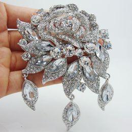 Moda deco online-Al por mayor - 2014 moda elegante nupcial claro Rhinestone cristal Art Deco flor Rose broche Pin colgante
