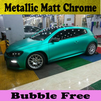 Wholesale Matte Chrome Vinyl Wrap - 3m Quality Tiffany Blue Matte Chrome Vinyl Car Wrapping Film with Air bubbles Free Car Sticker Metallic Matt foil 1.52x20m Roll
