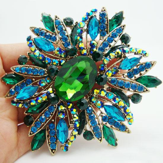 Commercio all'ingrosso - 2014 nuovo modo elegante del fiore placcato oro grande spilla Pin verde strass di cristallo