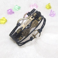 Wholesale Leather Cord Bronze - Infinity Faith Anchor and Owls Charm Bracelet in Antique Bronze Wax Cords Leather Braid Bracelet - Best Chosen Gift Jewelry 20pcs lot