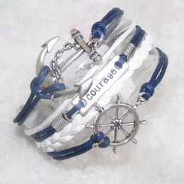 Wholesale Infinity Rudder Anchor Charm Bracelets - 20pcs lot courage anchor rudder Charm Bracelet Infinity Bracelet Braided Bracelet leather wrap bracelets fashion jewelry