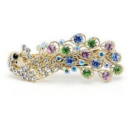 Wholesale Peacock Hair Barrettes - Women Lady Peacock Full Crystal Rhinestones Hairpin Hair clip Optional multi-color