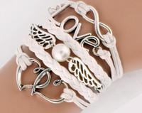 Wholesale pearl wax - Bracelets Infinity handmde leather bracelets heart to heart Love and pearls wings Charm Bracelet in Silver Bracelet Wax Cords jewelry