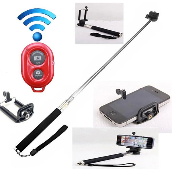 Uzatılabilir El Öz portre Monopod selfie sopa Fotoğraf Bluetooth Deklanşör Kamera Uzaktan Kumanda monpod + deklanşör + klip