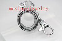 Wholesale Living Memory Lockets Keychains - 10pcs expensive vintage oval shape floating charm memory living glass locket key rings keychains Xmas mother's