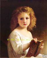 Wholesale Figure Painting Book - Free Shipping ,Lots Wholesale ,100% HANDCRAFTS Art OIL PAINTING:Cute Girl Read A Book, Any Customized Size Accepted ON CANVAS