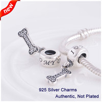 Wholesale Authentic Pandora Dog Charm - Fits Pandora Bracelet DIY 2014 New Authentic 100% 925 Sterling Silver Original Beads I Love My Dog Charms Women Jewelry L349