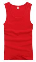 sexy chaleco rojo al por mayor-El más popular con los hombres camisetas sin mangas atléticas Sexy algodón apretado deportes chaleco-Red Hot Fashion envío gratis