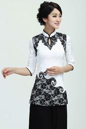 80dd50cae Shanghai Story Half Sleeve Chinese cheongsam top Chinese blouse Traditional  Chinese Style Elegent Top White Qipao Shirt for Women