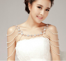 Wholesale Epaulets Accessories - New wedding jewelry Four levels of pearl diamond epaulet shoulder chain crystal necklace bridal jewelry wedding dress accessories huihui2014