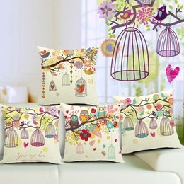 Wholesale Pillow Case Cushion Cover 17 - 17 Styles Birdcage Flower Custom Cushion Covers 45X45cm Fresh Pastoral Car Pillow covers Birds Pillows Case Floral Decoration Free Shipping