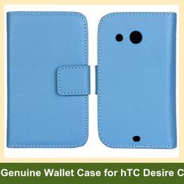 Wholesale Desire C - Wholesale Multicolor Genuine Leather Folding Wallet Flip Cover Case for hTC Desire C A320e Free Shipping