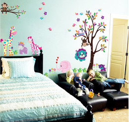 Wholesale large monkey tree wall stickers - Large Size 280*156cm(110*61in) The Beautiful World With Animals and Tree Wall Sticker Owl Monkey Giraffe Elephant`sChildren's Room Wallpaper