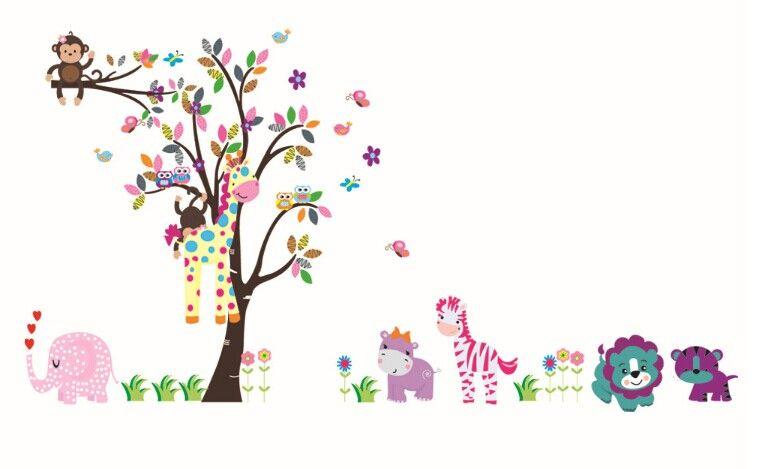 Grande Tamanho 280 * 156 cm 110 * 61in O Mundo Bonito Com Animais e Adesivo De Parede Árvore Coruja Macaco Girafa Elephant`sCrianças's Room Wallpaper
