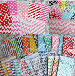 Wholesale Stripe Party Bags - Promotion 5x7 Chevron dot stripe horizontal Flower Treat Craft Paper Popcorn Bags Food Safe Party Favor Paper bags Best Gift Bag