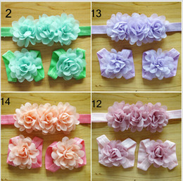 Wholesale Wholesale Baby Barefoot Headband Sets - Newborn Baby Girls Barefoot Socks Sandals and headband Set Shoes Kids Tulle Foot Ornaments Child Infant Flower Socks 16 Color