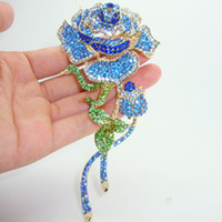 Wholesale Decorative Flower Brooch - Wholesale- Sale Hot 2014 Elegant Charming Blue Rhinestone Crystal Rose Flower Buds Gold-plated Decorative Brooch Pin