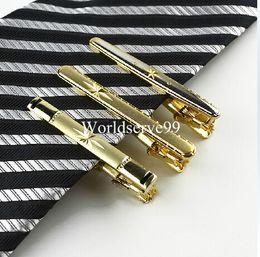 Wholesale Necktie Clasps - Mens Metal Tie Clips Bar Gold Tone Simple Wedding Necktie Clip Clasps Pins