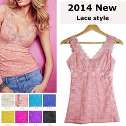 2019 verano lindo camisetas sin mangas al por mayor 2014 nuevo estilo de moda de verano ropa de mujer camisa base mujeres de encaje tanques Tops