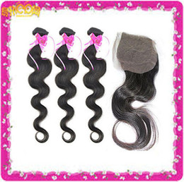 Wholesale Buy Unprocessed Virgin Hair - Perfect Discount!!! Unprocessed Brazilian Virgin Human Hair Body Wave Buy 4 Get 1Free Closure Natural Color Dyable Bleachable Free Shipping