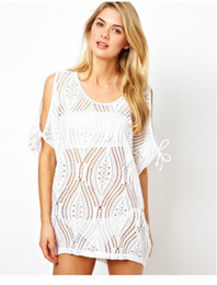 Cover Up Crochet White Canada - Summer Dress 2014 Women White Sexy Bikini Cover-Ups Plus Size Pullover Swimwear Clothing Dress Vestidos Crochet Beach Cover Up free shipment