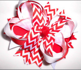 """Wholesale Stacked Boutique Hair Bows - 4.5"""" red chevron stacked Boutique Spike Hair Bows Clip-12pcs"""