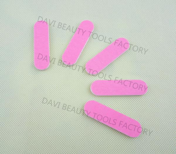 Gros-407-mini planche émeri 100pcs / lot 6cm longueur double rose couleurs papier abrasif mini lime à ongles pour nail art LIVRAISON GRATUITE