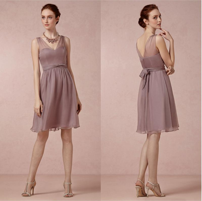 Mauve colored bridesmaid dress