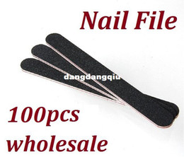Wholesale Curved File - Wholesale-407-100pcs Lot Professional Black Curved Double Sides Nail Files Buffer Slim Crescent Grit 80 100 Sandpaper Manicure Tools for Nai