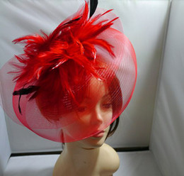 Wholesale Fascinator Dress - luxury Top Hat Cap Fascinator Women Dress Up Yarn Feathers Clips caps Bridal Wedding Party Veil hats Photo props charm hair jewelry