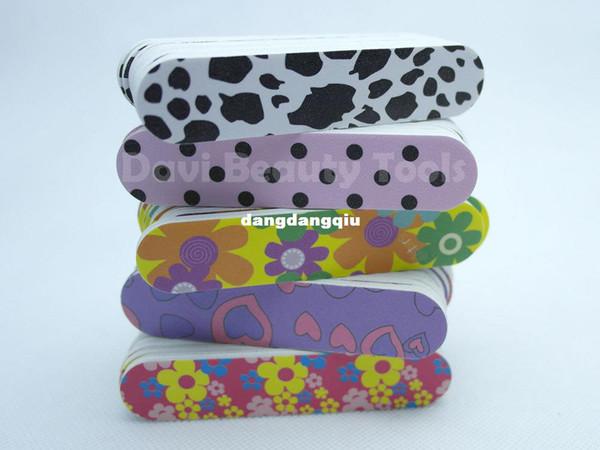 Wholesale-407-emery file 50PCS/lot nail tools emery board 5 different pattern mix sandpaper mini nail file FREE SHIPPING #SC0331-12