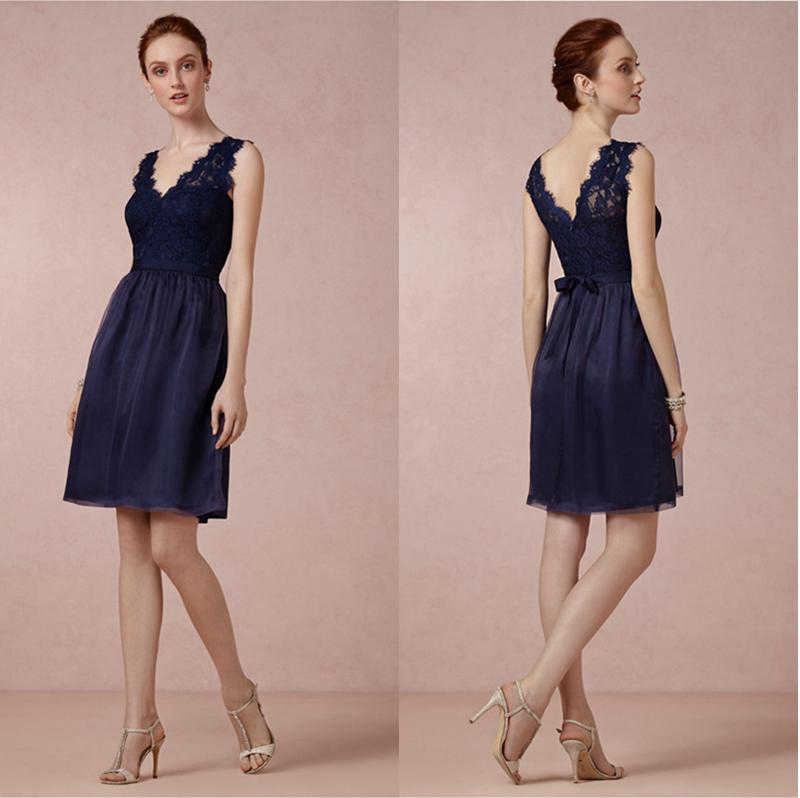 Acheter bleu marine courte demoiselle d 39 honneur robe for Robes de demoiselle d honneur mariage marine