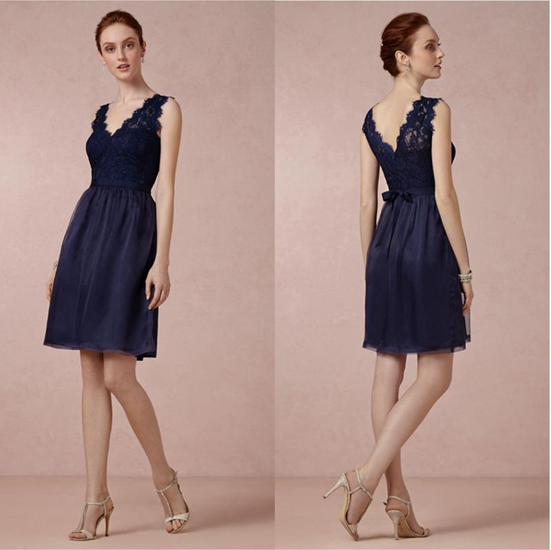 acheter bleu marine courte demoiselle d 39 honneur robe dentelle corsage tulle jupe mi longues. Black Bedroom Furniture Sets. Home Design Ideas