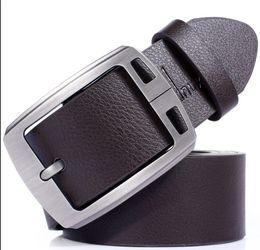 Wholesale Real Leather Belt Brown - Wholesale Mens Genuine Real Leather men Belt Alloy Buckle high quality fashion belt for men