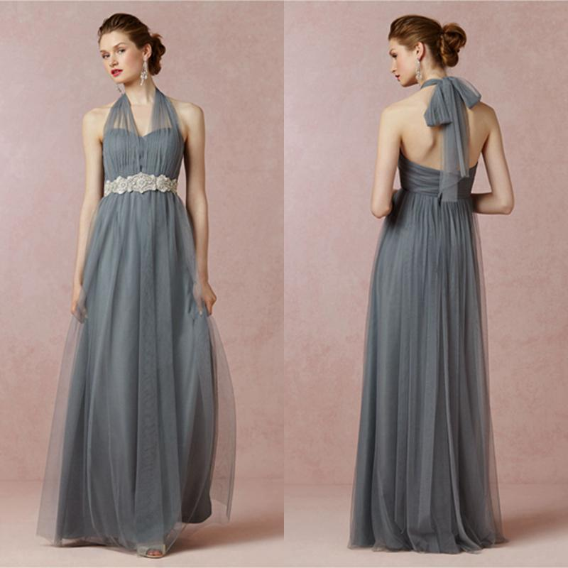 Mayan Blue Halter Long Bridesmaid Dress Soft Tulle Prom Dresses ...