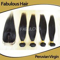 ingrosso fasci di capelli peruviani 5a-Favoloso 5A Vergine peruviana capelli lisci chiusura superiore in pizzo 3,5x4