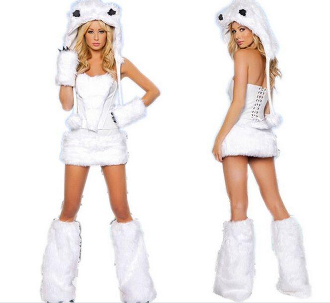 Peludos Fasching Cat Girl Lobo Branco Urso Polar Brincalhão Halloween Traje Cosplay Roupa Do Vestido De Fantasia Para A Mulher Sexy Trajes De Halloween Conjunto Completo