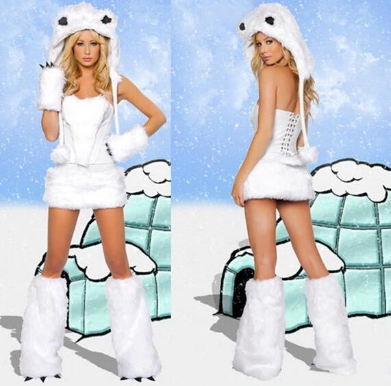 Nyaste Sexig Furry Fasching Wolf Cat Girl Polar Bear Uniform Halloween Kostym Cosplay Fancy Party Dresses Full Set Xmas Gratis frakt