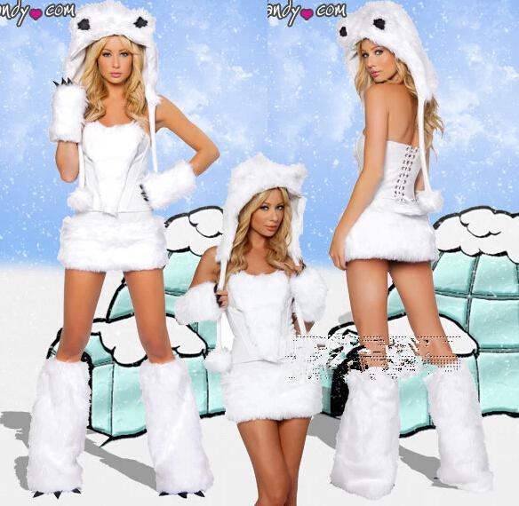 فروي fassching القط فتاة بيضاء الذئب الدب القطبي لعوب هالوين تأثيري حلي الزي تنكرية للمرأة مثير هالوين ازياء مجموعة كاملة