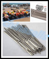 Wholesale Steel Needles Ball - Portable Picnic BBQ Barbeque Needle 35cm Camping Stainless Steel Grilling Party Kabob Kebab Flat lamb Skewers forks