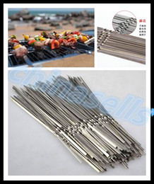 Wholesale Camp Clean - Portable Picnic BBQ Barbeque Needle 35cm Camping Stainless Steel Grilling Party Kabob Kebab Flat lamb Skewers forks