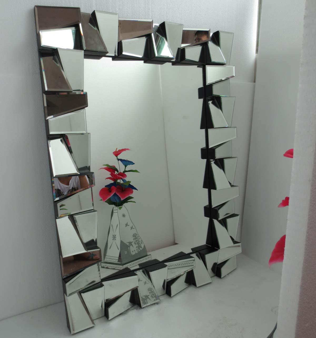Mr 201389 square facet frame 3d wall mirror inexpensive mirrors see larger image amipublicfo Images