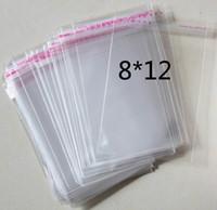 poly geschenk taschen großhandel-400 stücke 8 cm x 9 cm + 3 cm Selbstklebende Dichtung Verpackung Plastiktüte Polybeutel OPP Verpackung Klar Tasche Perle Geschenk Schmuck tasche