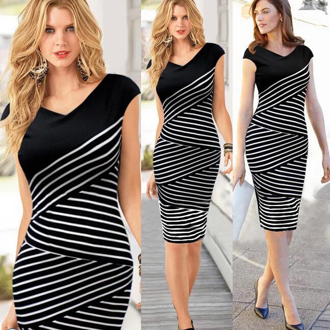 2017 mode frauen arbeiten kleider damen bleistift rock plus größe neue sommer dress schwarz weiß streifen sexy midi dress casual party dress e1