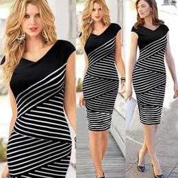 Wholesale Polka Dot Skirt Ladies - 2017 Fashion Women Work Dresses Ladies Pencil Skirt Plus Size New Summer Dress Black White Stripe Sexy Midi Dress Casual Party Dress E1