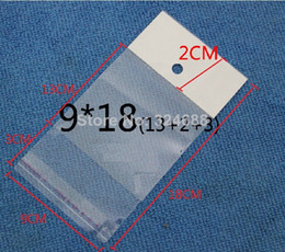 Wholesale Plastic Retail Gift Bags - 9*18cm Clear Self Adhesive Seal Plastic Bag OPP Poly Bag Pearl Gift Jewelry Retail Packaging Bag W  Hang Hole