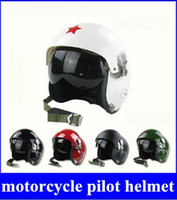Wholesale Helmet Half Star - Red Star Tactical Pilot Motorcycle Motorcross Racing Crash Helmet Dual Visor New hight quality free shipping
