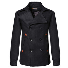 Wholesale Double Han - Slim pocket leather mosaic double breasted short design jacket coat new fashion han edition Stitching pocket men's coat