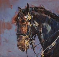 sanat atları yağlı boya toptan satış-Toptan Satış - Toptan-El yağlı boya, Oil Wall Art, Duvar Canvas Horse Art, Modern Soyut Tuval Yağlıboya Resim: AB # 053