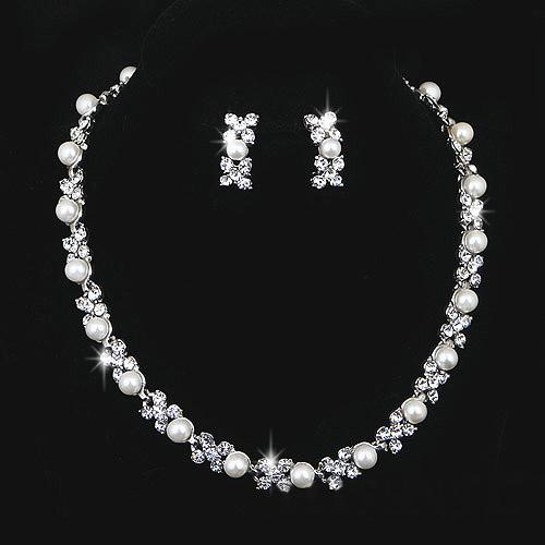 wedding jewelry sets silver artificial pearl rhinestone crystal bridal dress accessories necklace earrings set simple style shining jewelry pearl jewelry